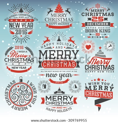 Gift Set vintage labels for Christmas. Creative set congratulations for your notifications and cards. - stock vector