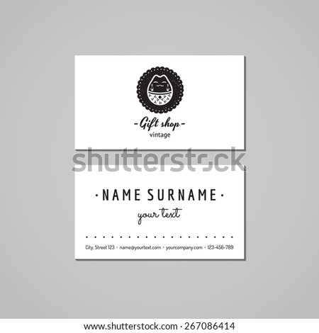 Gift shop souvenirs business card design stock photo photo vector gift shop and souvenirs business card design concept logo with japanese cat badge vintage colourmoves