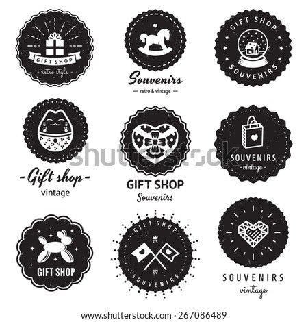 Gift shop and souvenirs logo vintage vector set. Hipster and retro style. Perfect for your business design. Badges logos. - stock vector