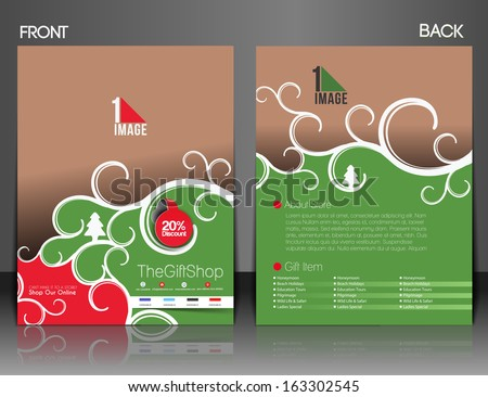 Gift Shop Flyer & Poster Cover Template  - stock vector