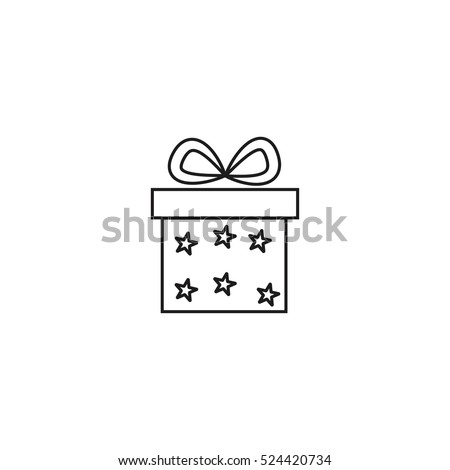 Gift Stars Package Christmas Present Outline Stock Vector 524420734