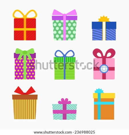 Gift symbol set - stock vector