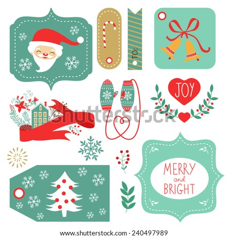 Gift tags and Christmas graphic elements collection. Vector illustration - stock vector