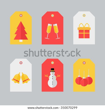 Gift tags design with christmas elements. Holiday labels in vintage yellow and red colors. Seasonal badge design. Cute gift tags for christmas presents. Flat style vector illustration. - stock vector