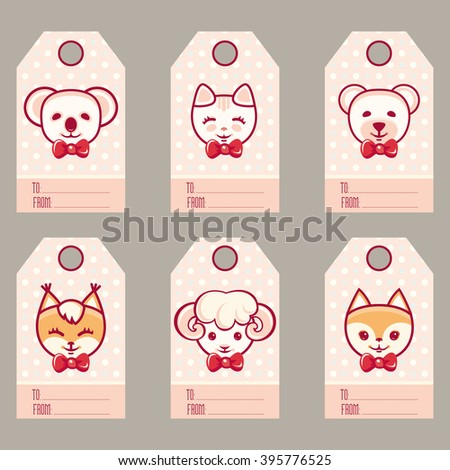 Gift tags with cute animals. Set of bright holiday labels. Vector illustration