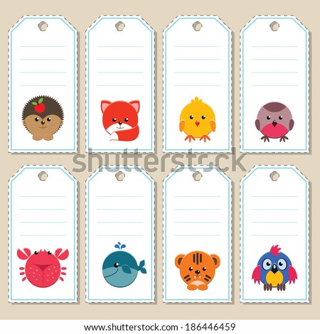 Gift tags with cute cartoon animals. Some blank space for your text included. - stock vector