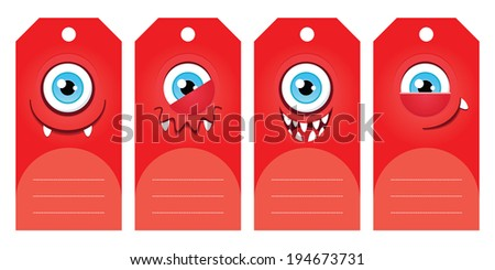 Gift tags with funny cartoon monsters. Some blank space for your text included. - stock vector