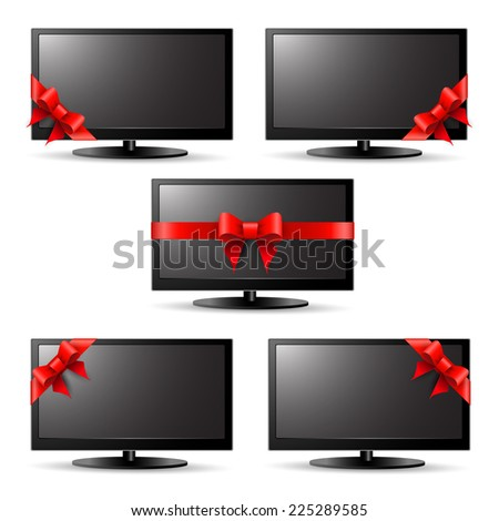 Gift tv with a red ribbon - stock vector