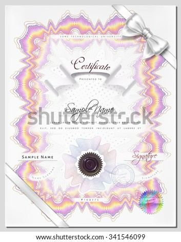 Gift vintage certificate / diploma / award vertical template with protective macrame figure and elements in vector - stock vector