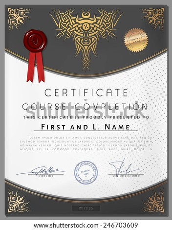 Gift vintage certificate of education completion as award on paper for graduate of student in vector - stock vector