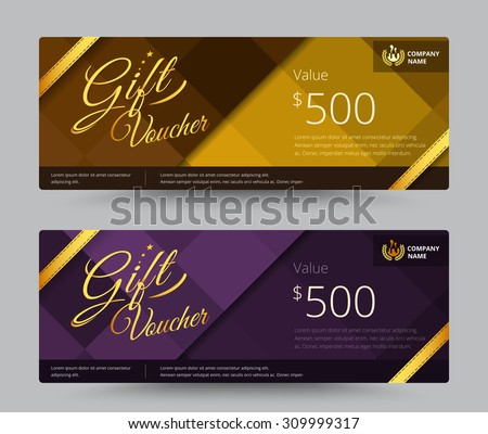 Gift Voucher Coupon Gold Purple Color Vector 309999317 – Sample Gift Vouchers