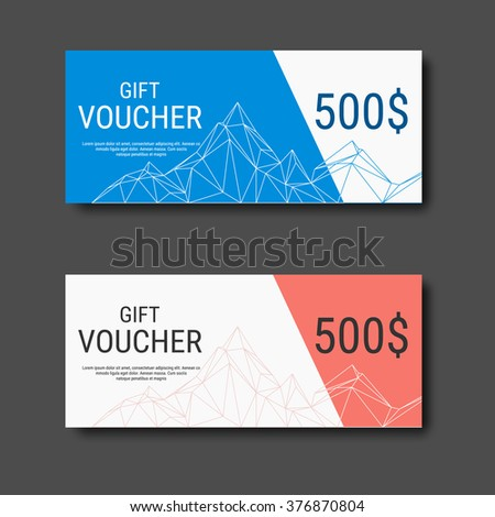 Gift Voucher Certificate Coupon Template Colorful Stock Vector 2018