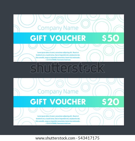 Gift Voucher, Certificate Templates In Aquamarine And White  Gift Voucher Certificate Template