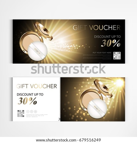Gift vouchers sparkling gold silver ribbons stock vector 519269305 gift voucher cosmetics luxury make up powder for annual sale blue packaging template vector design yelopaper Gallery