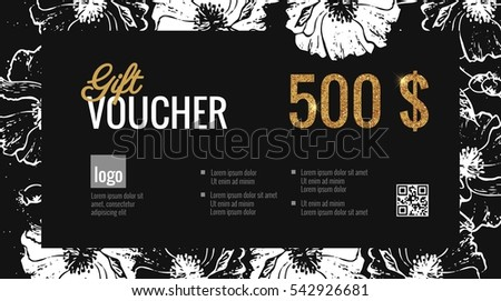 elegant gift certificate template with floral background and gold sparkling price