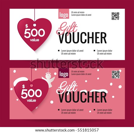 Gift Voucher Coupon Discount Happy Valentines Stock Vector
