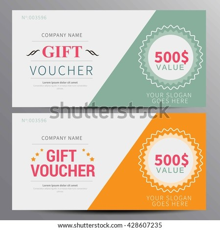 Gift voucher, coupon template, flat design in vector