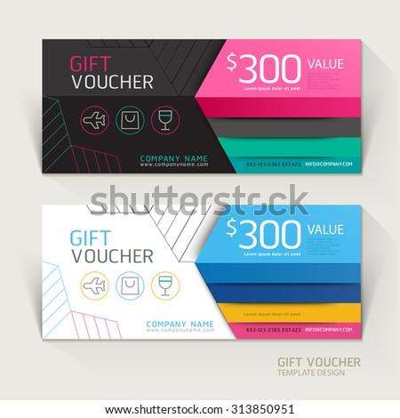 Gift voucher design template. Vector illustrations. - stock vector
