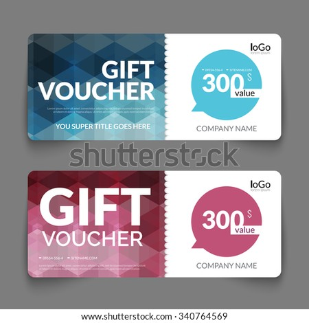 Gift voucher discount template layout with colorful modern hexagonal design. Certificate coupon special buy offer design template - stock vector