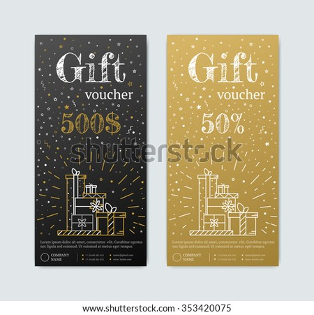 Gift Voucher in gold. Gold and black banner. Gold Card text with elements of stars candy. Gift voucher for shopping in magazinet vip, exclusive. Discount coupon or certificate - stock vector