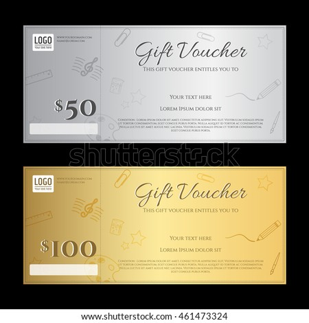 Gift Voucher Or Gift Certificate Template In Luxury Gold And Silver Theme  Gift Card Certificate Template