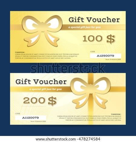 Gift Voucher Gift Certificate Template Gold Stock Vector 478274584 ...
