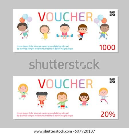 Gift Voucher Template Kids Voucher Template Stock Vector (2018 ...