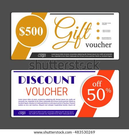 Discount Voucher Certificate Gift Card Design Stock Vector ...