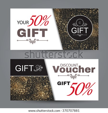 Gift Voucher Template, Certificate Coupon Design, Collection of Business Cards with Gold Particles. Elegant & Luxury Design. Vector illustration - stock vector