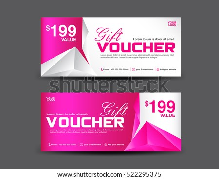 Gift Voucher Template, Coupon Design, Pink Gift Certificate, Ticket,  Polygon Background  Coupons Design Templates