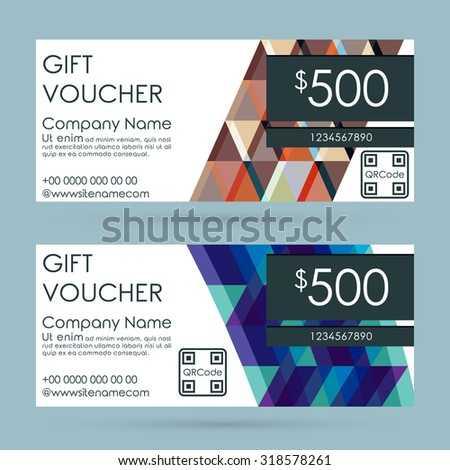 Gift Voucher Template. Flyer Simple Design Layout. Vector Illustration. - stock vector