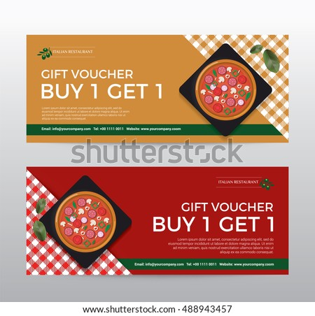 Gift Voucher Template Food Pizza Restaurant Stock Vector Royalty - Pizza gift certificate template