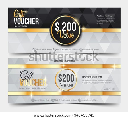 Gift Voucher Template, gift voucher certificate coupon design template,Collection gift certificate business card banner calling card poster.Vector illustration - stock vector