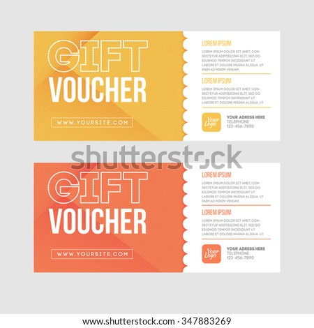 Gift voucher template set. Two gift cards design. - stock vector