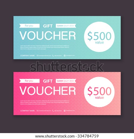 Gift voucher template with colorful pattern, certificate, coupon,certificate, invitation, currency. Vector illustration.