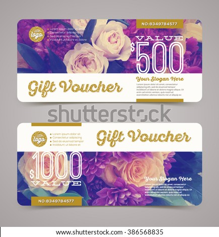 Gift voucher template with  floral background and glitter gold elements. Vector illustration, Design for  invitation, certificate, gift coupon, ticket, voucher, diploma etc.