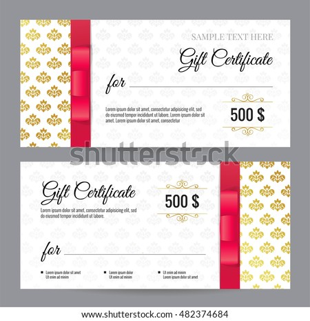 Gift voucher template floral pattern red stock vector 482374684 gift voucher template with floral pattern and red bow ribbons design usable for coupon yadclub Image collections