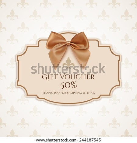 Gift voucher template with golden ribbon and a bow. Vector illustration - stock vector