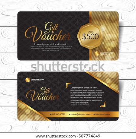Gift voucher template with luxury pattern.Restaurant voucher. Vector illustration