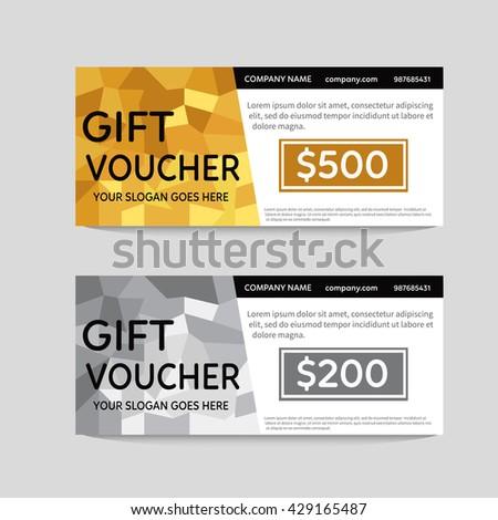 Gift Voucher Template Polygonal Gold Silver Stock Vector (2018 ...