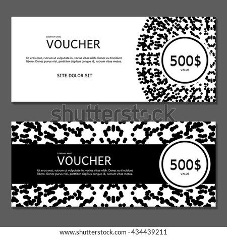 gift certificate template with logo - gift voucher vector illustration card template stock