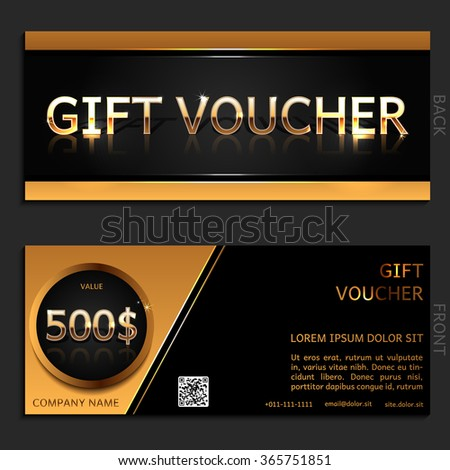 Gift voucher. Vector, illustration. Card template. Gold.