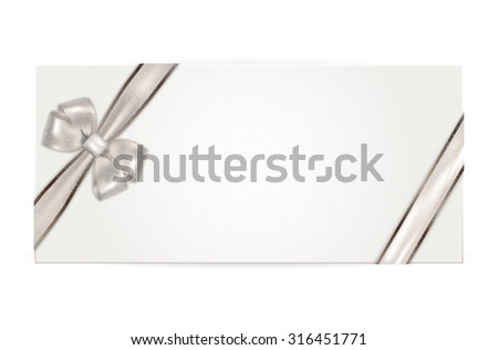 Gift voucher with silver bow - isolated on white. Vector illustration. - stock vector