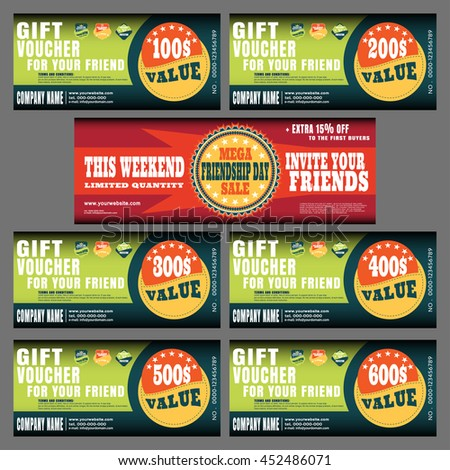 Gift vouchers vector collection with labels for the mega sales on Friendship Day.