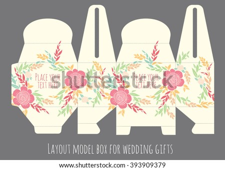 Gift wedding favor box template with nature pattern - abstract vector floral pattern flowers blossom