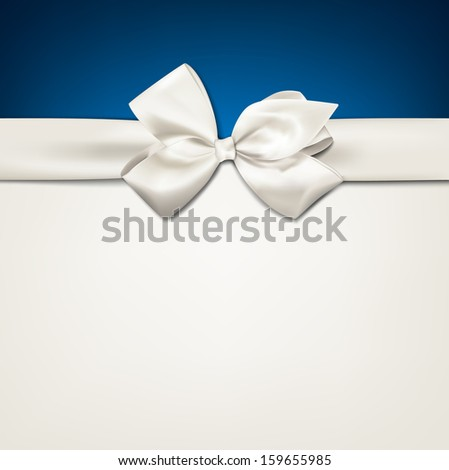 Gift white ribbon with bow over blue and beige background. Vector illustration.  - stock vector