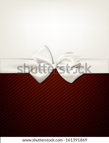 Gift white ribbon with bow over brown and beige background. Vector illustration. - stock vector