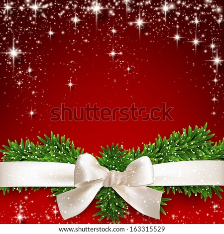 Gift white ribbon with bow over red starry christmas background. Vector illustration.  - stock vector