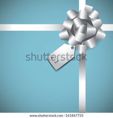 Gift with bow and tag background. EPS 10 vector, grouped for easy editing. No open shapes or paths. - stock vector