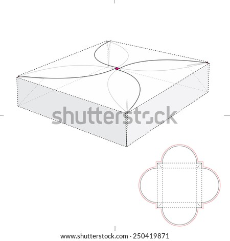 Gift Wrap with Interlocking Cover and Die Cut Template - stock vector